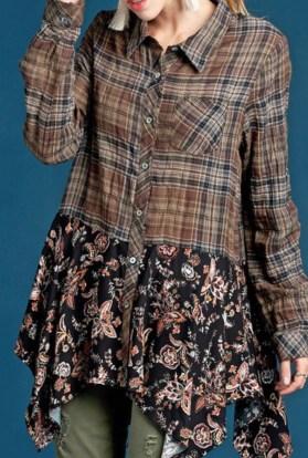 Black asymmetric long sleeve plaid floral top