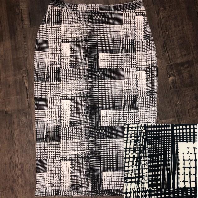 Black white block pencil skirt