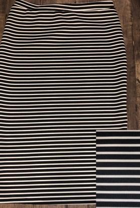 Black white stripe pencil skirt