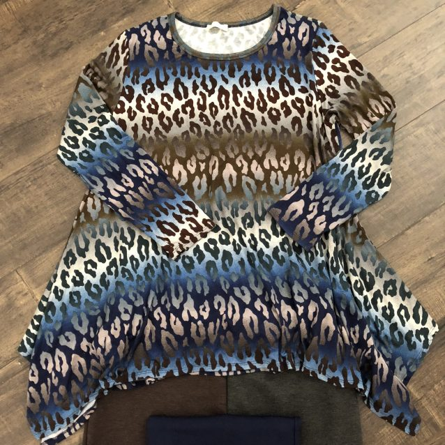 Blue sharkbite tunic plus size