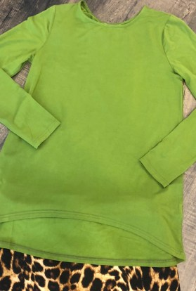Green long sleeve high low top