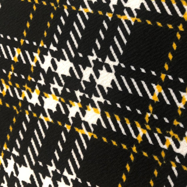 Yellow plaid pencil skirt