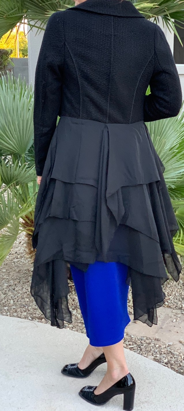 Black tweed chiffon layered jacket
