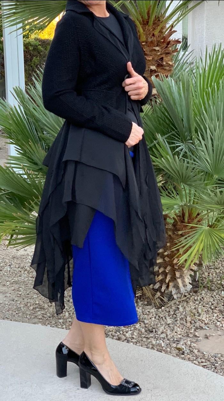 black tweed chiffon layered jacket