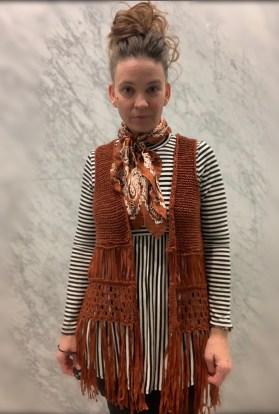 Striped mock turtleneck babydoll top