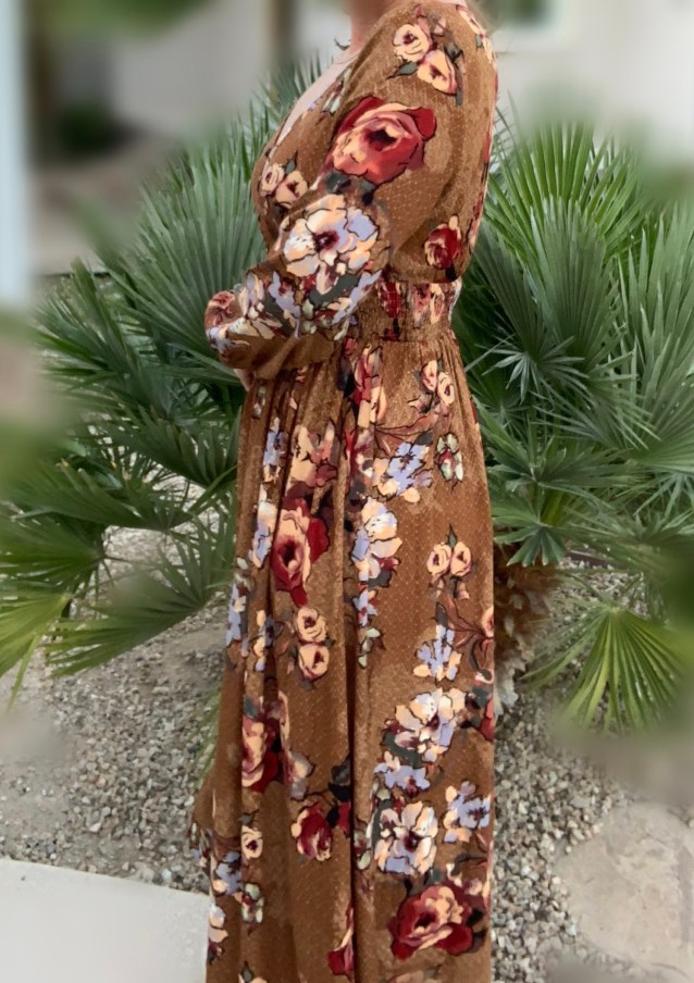 autumn floral long maxi dress