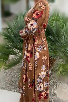 autumn floral long maxi dress