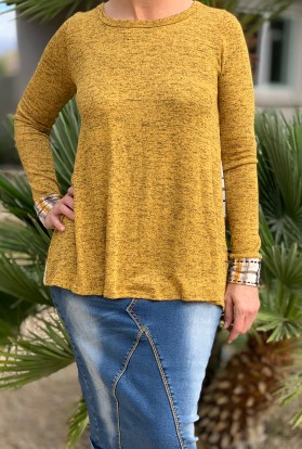mustard plaid long sleeve tunic