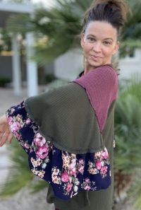 olive ruffle tiered floral sleeve top