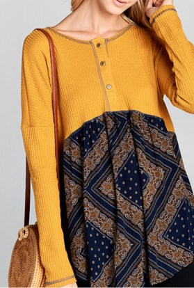 Mustard Navy Thermal Top