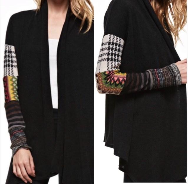 Black patchwork cardigan