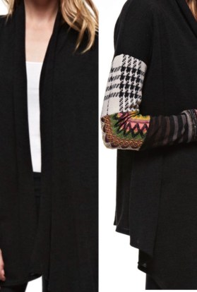 Black patchwork cardigan