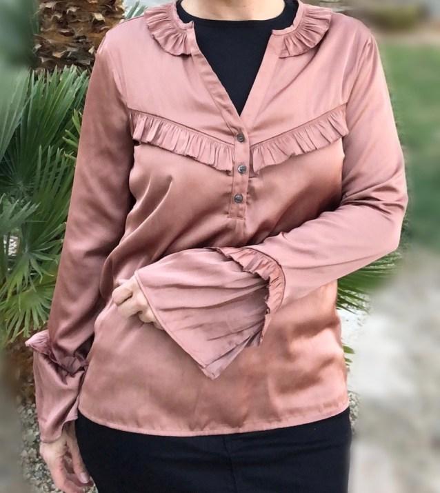 copper ruffle blouse