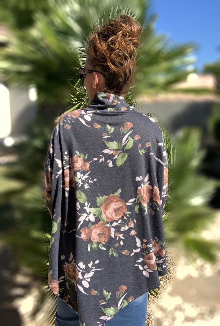 Floral rose long sleeve poncho