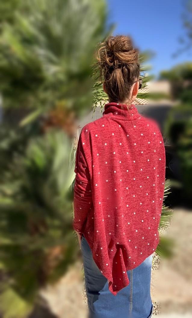Red polka dot poncho sweater