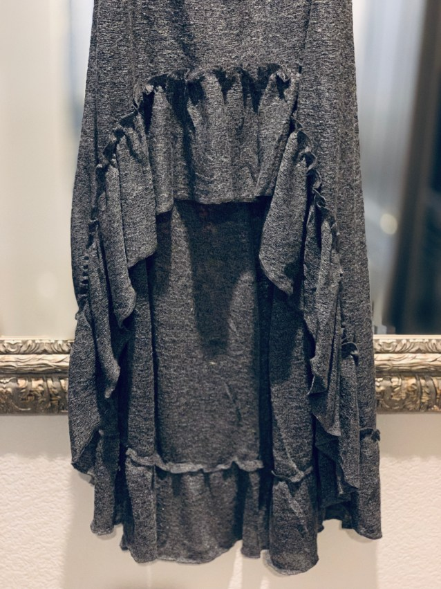 Dark gray lace hi low duster