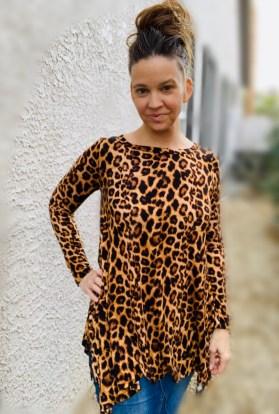 Leopard print sharkbite tunic tunic