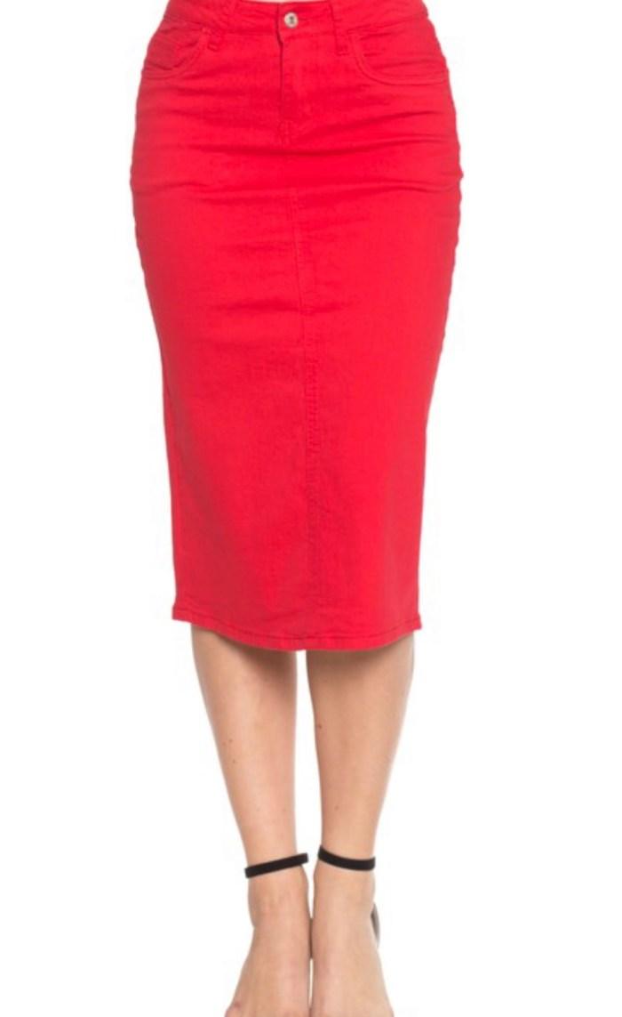 Red twill stretch pencil skirt