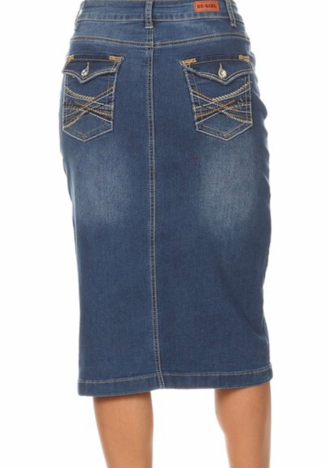 denim pencil skirt indigo wash