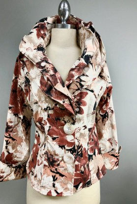 Mauve floral wired collar jacket