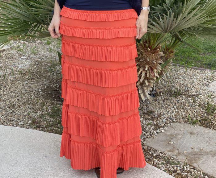 Coral ruffle Eleganza skirt