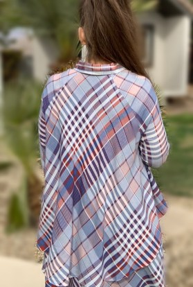 Plaid hi low ruffle button up tunic