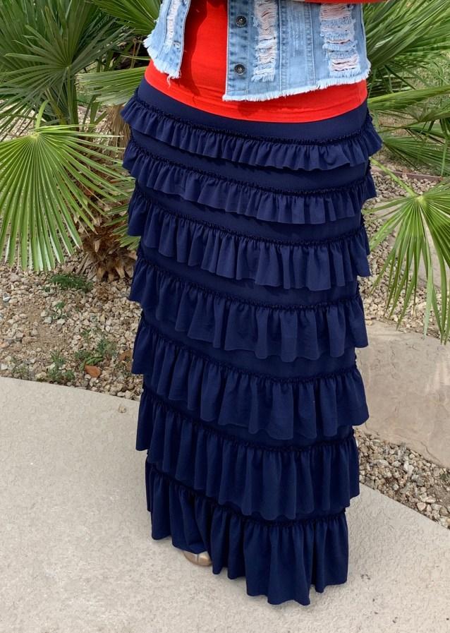 Navy Ruffle Eleganza skirt