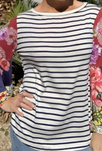 navy stripe contrast sleeve top