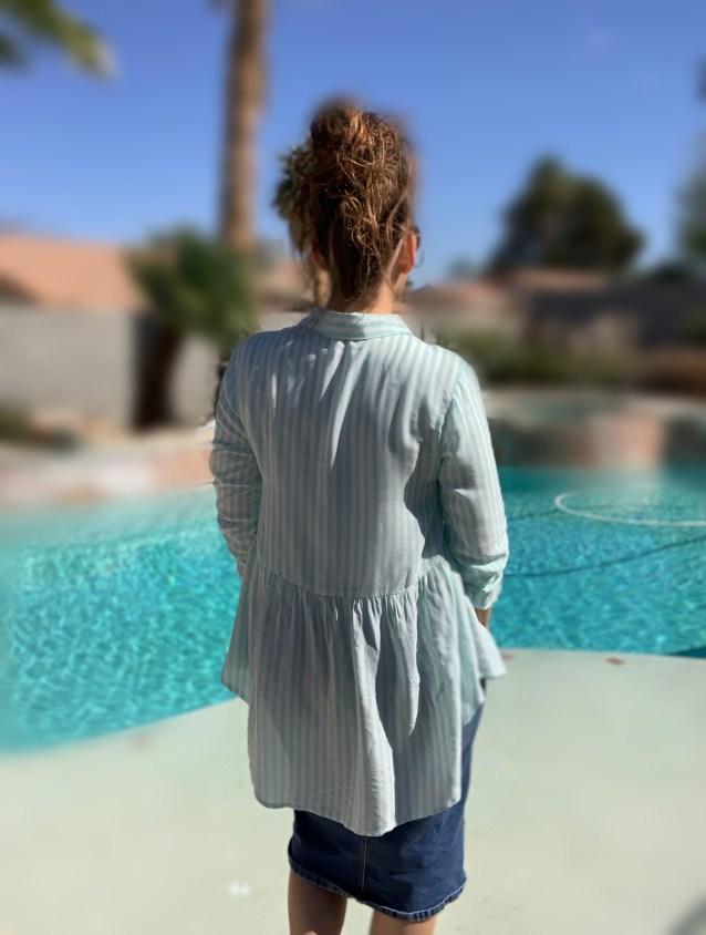 Charcoal stripe high low tunic