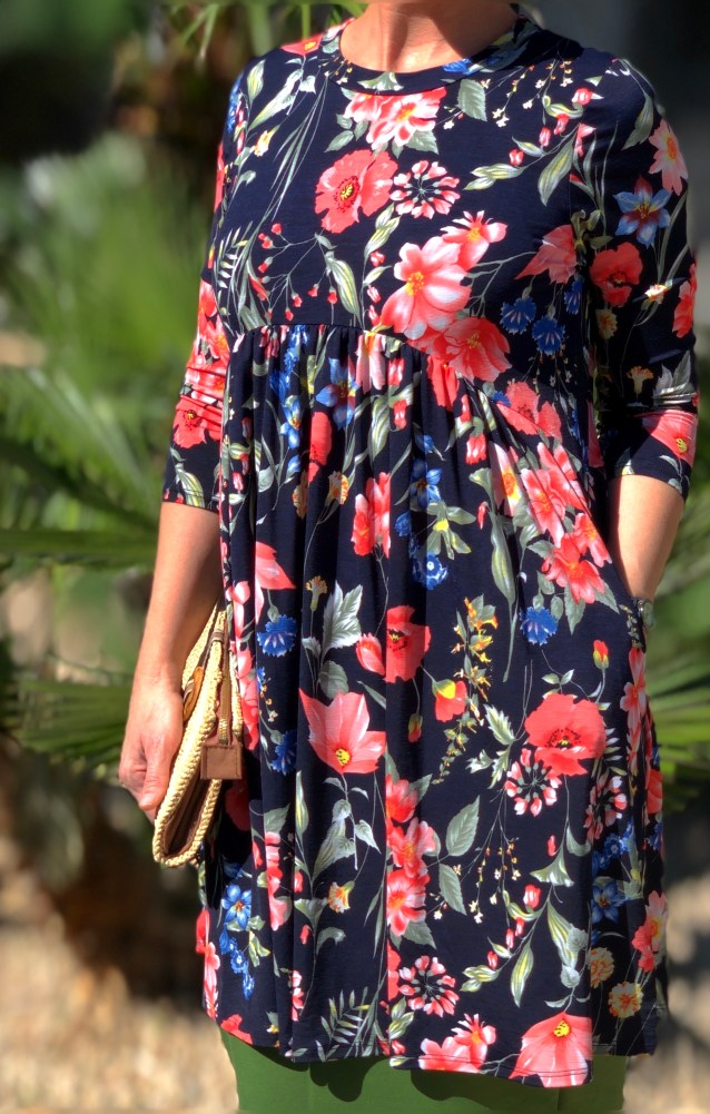 Long floral pocket tunic