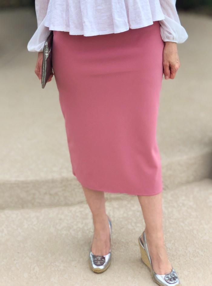 Blush modest pencil skirt