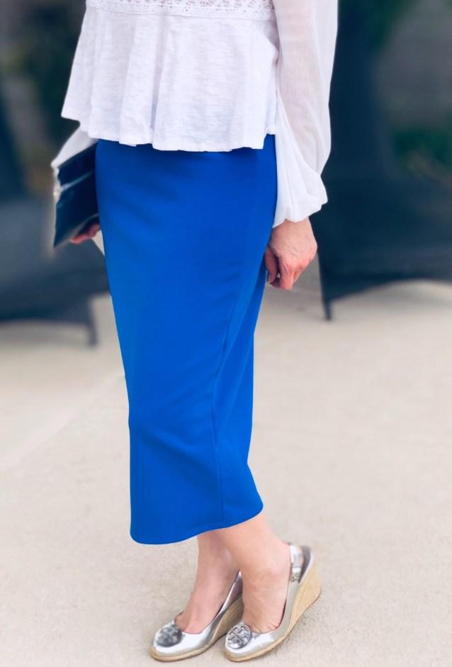 Princess blue modest pencil skirt