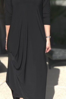 Black luxe drape dress