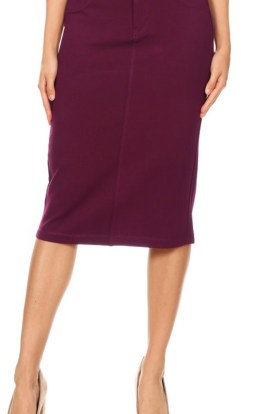 Burgundy twill stretch pencil skirt