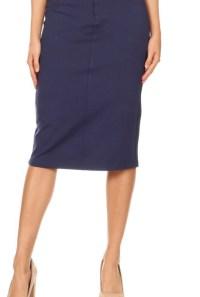 Navy twill stretch pencil skirt