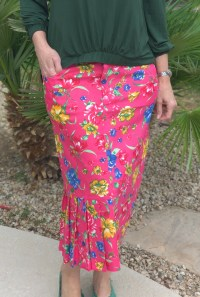 Pink floral pleated twill skirt