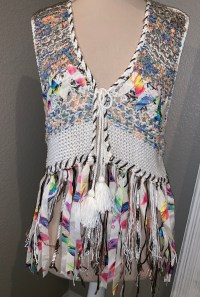 Fringe ribbon vest multi