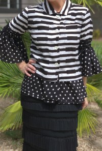 Polka dot bell sleeve black white jacket
