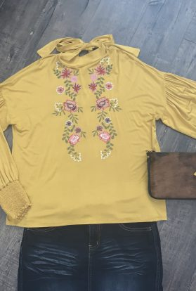 Mustard Floral embroidered blouse