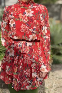 Belted red floral ruffle tunic