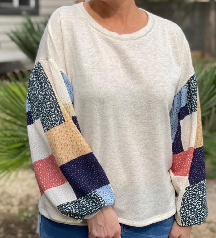 Patchwork sweater - cream