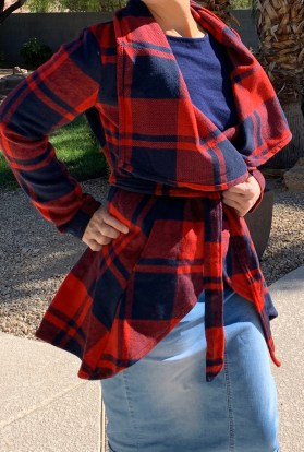 Red plaid jacket with belt