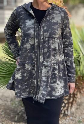 Tie dye zip up hoodie army green
