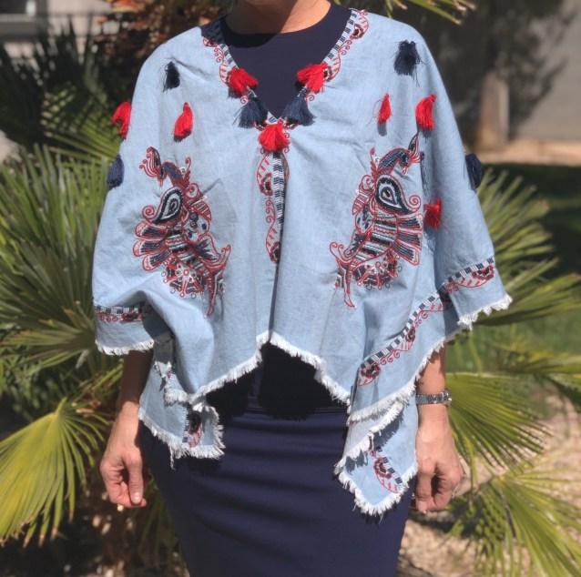 Denim embroidered poncho