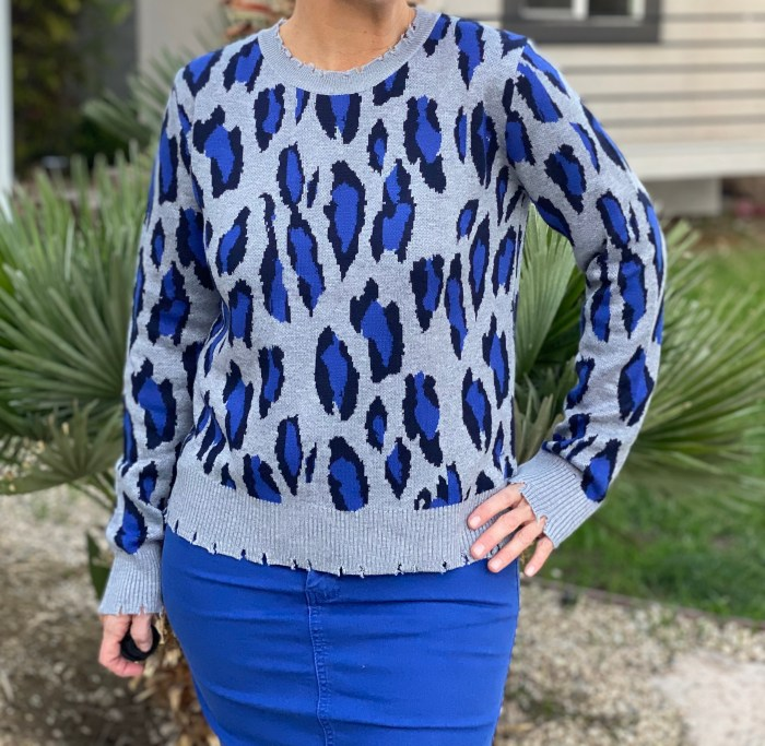 Distressed Blue Leopard Sweater