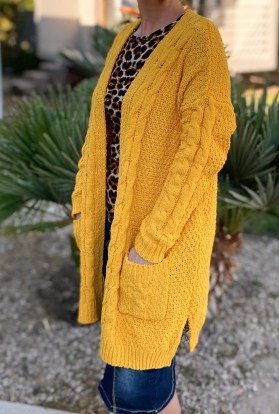 Mustard cable knit cardigan sweater
