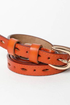 Skinny Scallop Leather Belt - CameL