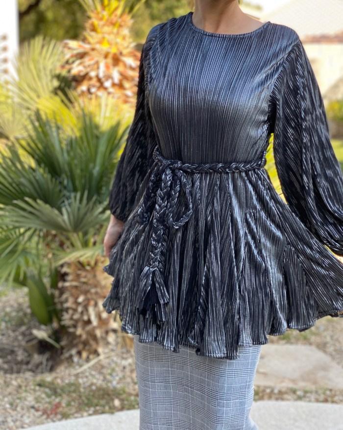 Metallic Dress Tunic With Belt