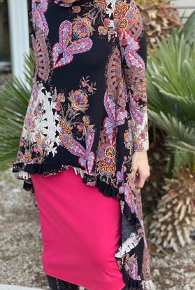 Paisley hi low ruffle tunic