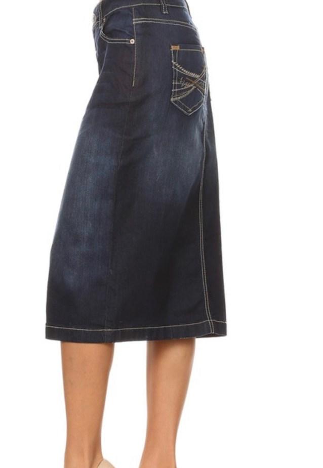Dark Blue Stretch Denim Skirt